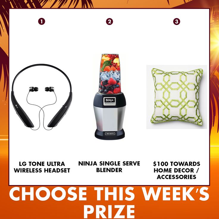 Which product would you like a chance to win in this week's #RCWilleyGiveaway? Comment below with your favorite! 1) LG Tone Ultra Wireless Headset 2) Ninja Single Serve Blender 3) $100 Towards Home Decor/Accessories Note: Our #RCWilleyGiveaway on Pinterest is moving up to start Wednesday afternoon starting at 3 pm through Thursday afternoon ending at 3 pm.