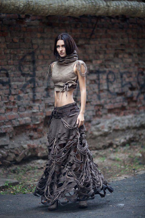 """Felted Long Skirt """"New Amazon"""" , brown skirt, hand felted skirt"""