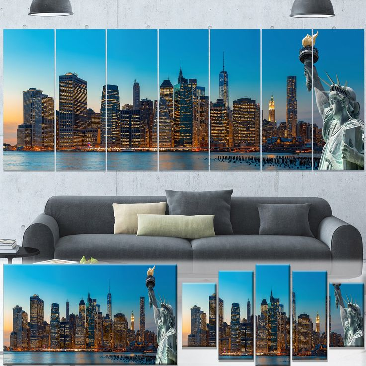 Designart 'Evening New York City Skyline Panorama' Extra Cityscape Wall Art on Canvas