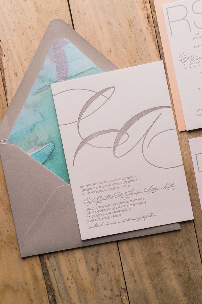 Letterpress Wedding Invitations, Watercolor, Grey Turquoise and Coral, Beach Cutie, Jupiter and Juno