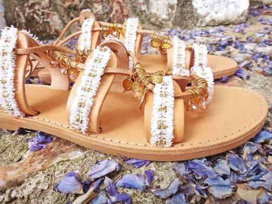 Amelia Handmade Sandals  Bridal & Boho chic genuine leather sandals with adjustable leather straps adorned with gold plated charms, crystal stones and