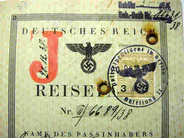 "German Nazi-Passport with the infamous ""J-Stamp"" for Jew, 1938 (link to info on law)"