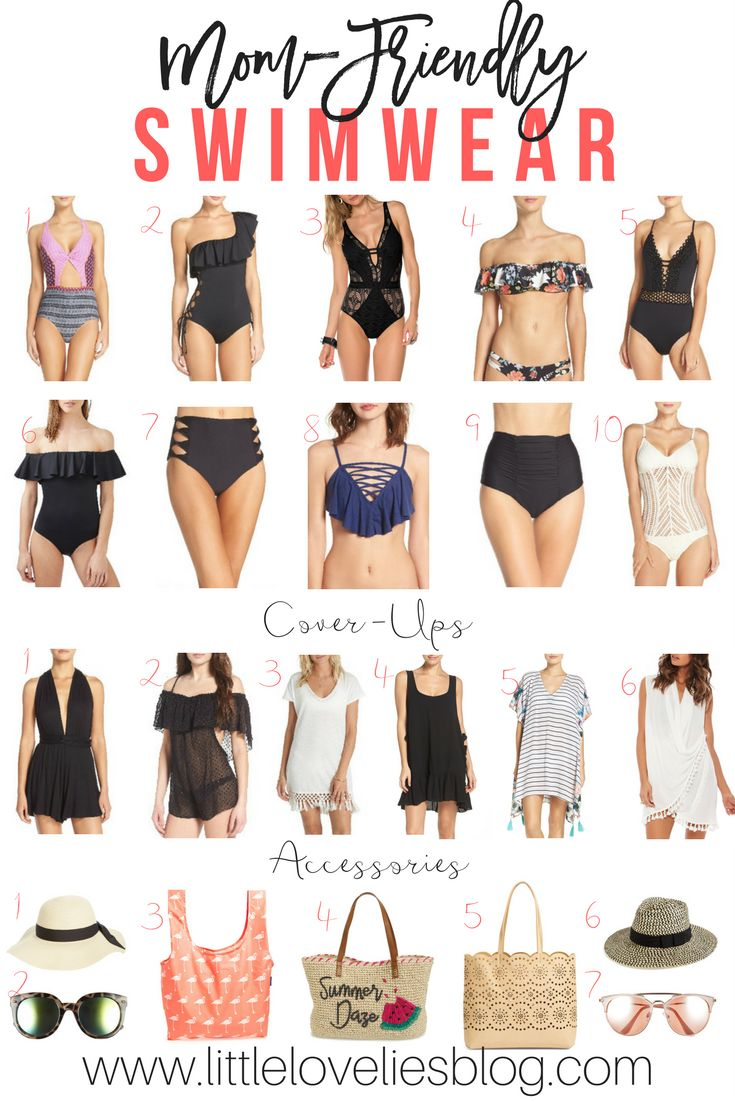Mom-friendly swimwear that is flattering and has support in all of the right places! Sharing my favorites along with accessories for summer!
