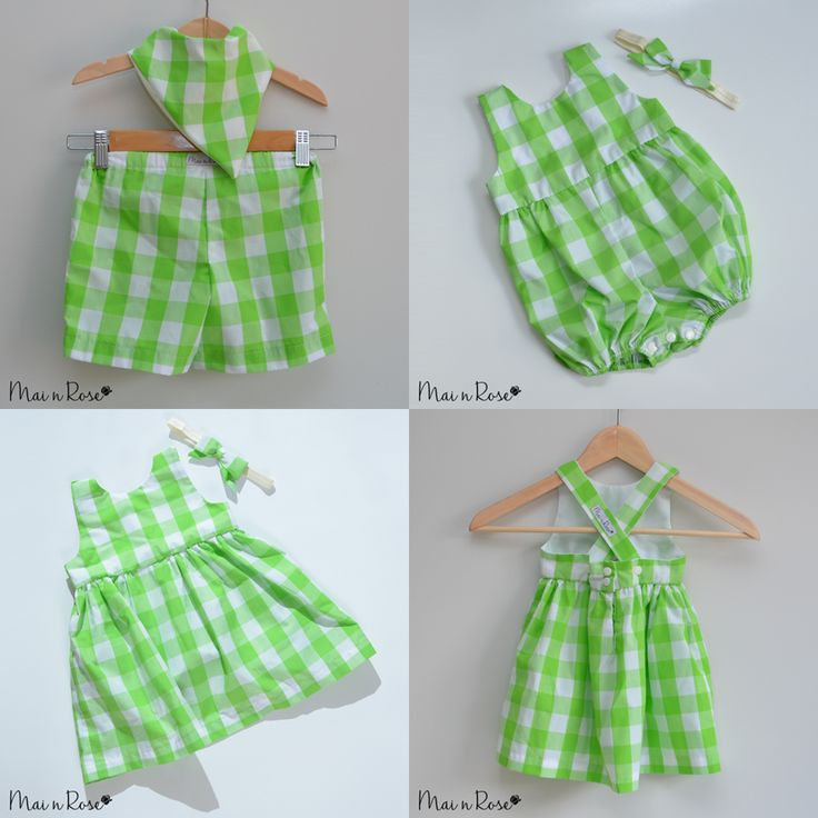 "Our ""Apple Gingham"" collection is perfect for your little one this summer! Our sets are made from Cotton with the classic Gingham print in a refreshing green.Pants"
