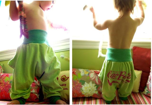 DIY - upcycle shirts into toddler harem pants