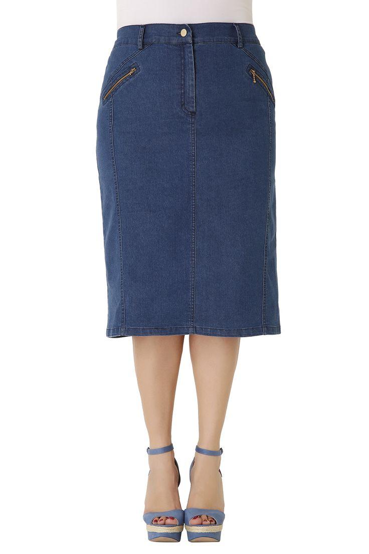 Midi τζιν φούστα με διακοσμητικά φερμουάρ στο πλάι και μικρό άνοιγμα & τσεπάκια στο πίσω μέρος. Το μαλακό της ύφασμα και το λάστιχο στη μέση χαρίζουν άψογη εφαρμογή, κολακεύοντας τη σιλουέτα. Μια ευκολοφόρετη φούστα για όλες τις ώρες της ημέρας!