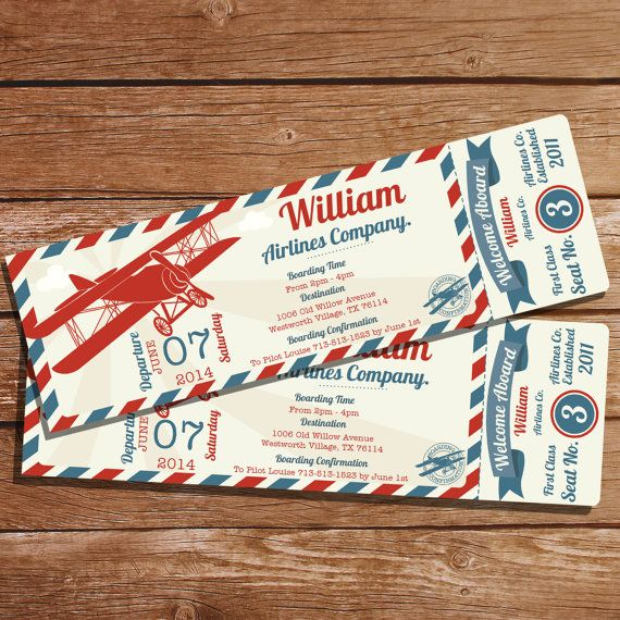 Airplane Ticket Invitation - Airplane Party - Plane Invitation - Vintage Airplane Invitation - Instant Download - Edit With Adobe Reader