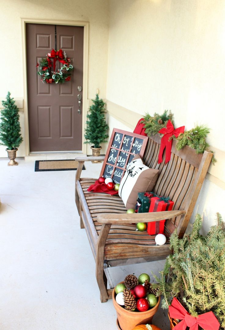 Holiday Porch Idea Christmas Country Home And Garden Rustic Winter Fleece Chalkboard Topiary Tree Garland