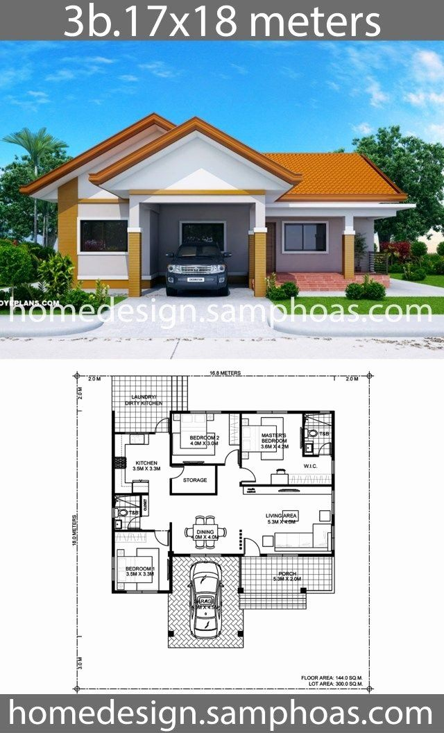 3 Bedrooms Bungalow House Plans Lovely House Design Plans 17x18m With 3 Bedrooms In 2020 Bungalow House Floor Plans Affordable House Plans House Construction Plan
