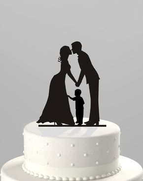 Wedding Cake Topper Silhouette Groom And Bride With Little Boy Family Acrylic Ct62b