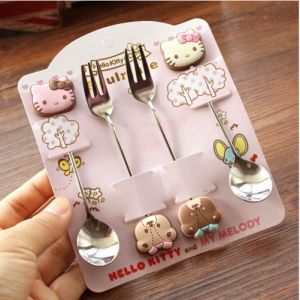 Hello Kitty Çocuk Çatal Kaşık Yemek Seti