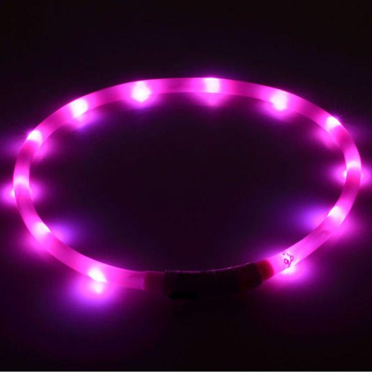 Collier de chien Led Lumières Réglable USB lumineux Led Collier de Chien USB de charge fournitures pour chien En Peluche Led colliers pour grands chiens