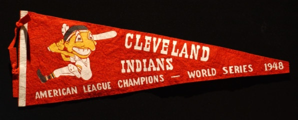 The Cleveland Indians won the American League championship in 1948, the year this pennant was produced.