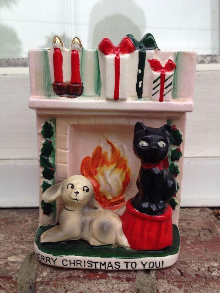 VINTAGE CHRISTMAS PLANTER UCAGCO JAPAN BLACK CAT DOG FIREPLACE
