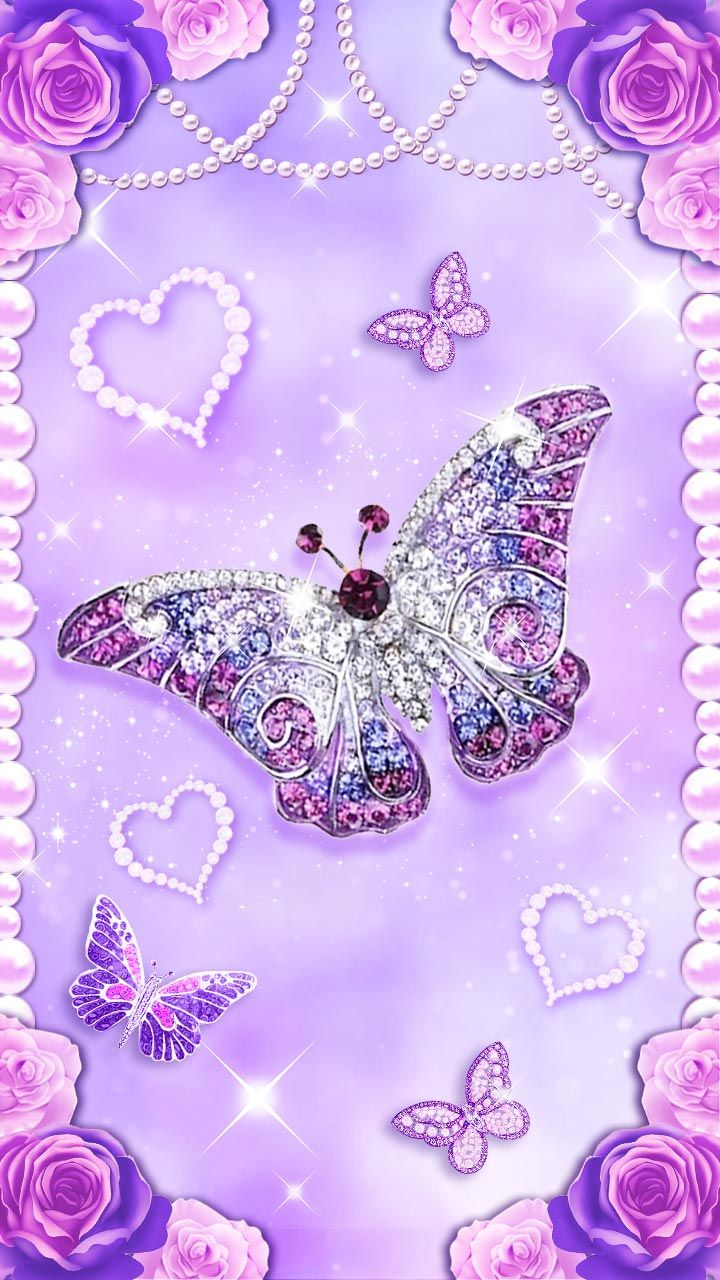Purple Dream Diamond Butterfly With Purple Roses Luxury Wallpaper For Your Phone Hearts Love Sparkle Wallpaper Heart Wallpaper Butterfly Wallpaper