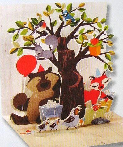 ミニポップアップカード バースデー・Woodland Tree