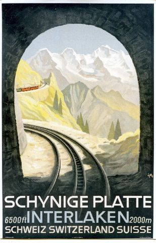 Diggelmann - Schynige Platte - Interlaken- 1930 vintage swiss train poster