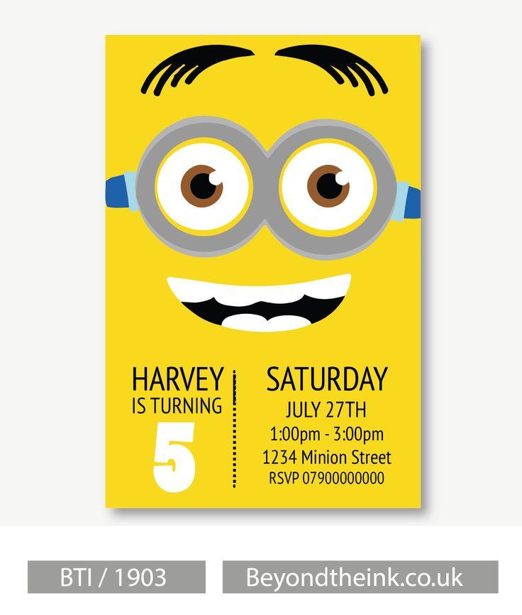Personalised Minion Invitations. Printed On Professional