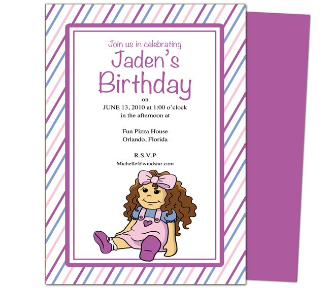 Kids Party Templates : Cutie Doll Kids Birthday Party Invitations Template. Printable DIY, easy to edit and print.