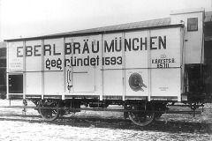 Bavarian Railways beer waggon at Munich Central Train Station, ca. 1910