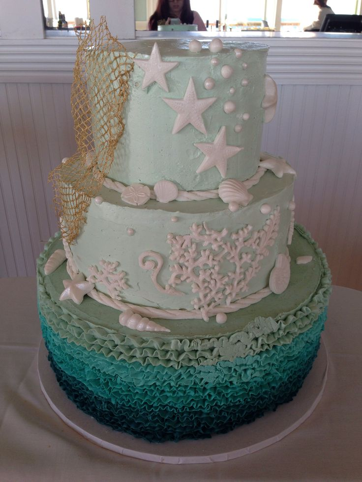 Beach themed wedding cake by How Sweet It Is NY