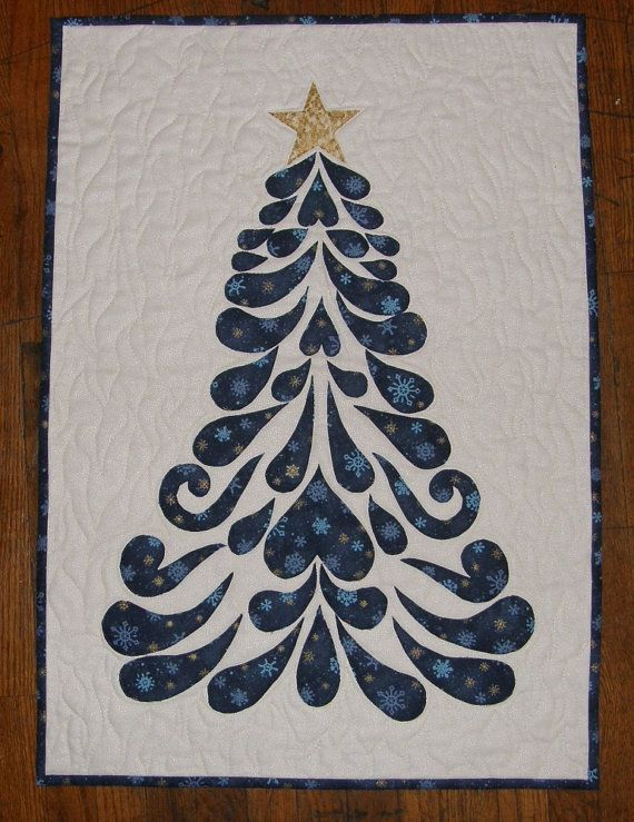 Blue Christmas Tree Contemporary Art Quilt Quilted by HollysHutch