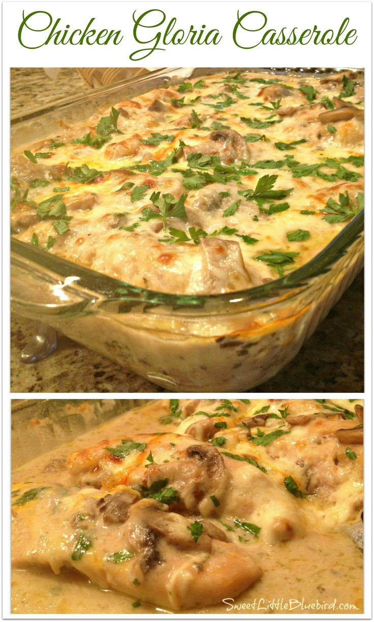 """CHICKEN GLORIA CASSEROLE - Tried and True Recipe that is absolutely delicious! 5 stars! """"This is awesome!!!!! So delicious. I made it exactly according to the recipe and it was fabulous. Definitely a keeper.""""   SweetLittleBluebird.com"""