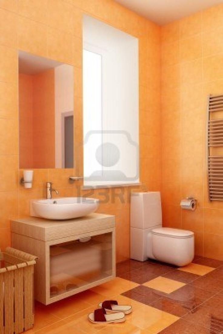 41 best Bathroom in orange color images on Pinterest | Orange ...