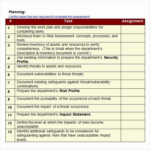 Information Security Risk Assessment Template Luxury Sample It