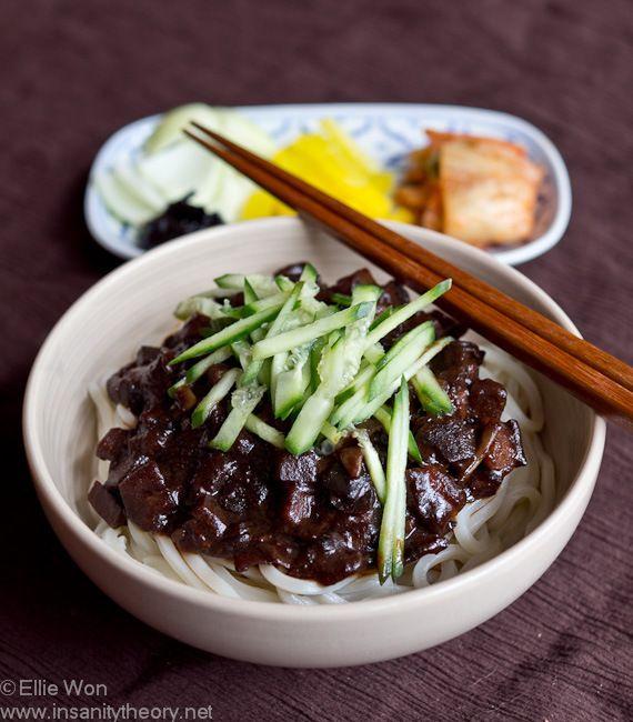 Jjajangmyeon: Korean black bean noodles Ingredients (makes enough sauce for 5-6 serves) 2 large carrots (approx 1.5 cups of diced carrot 2 medium onions (approx 1.5 cups diced onion) 2 medium potatoes (approx 1.5 cups diced potato) 500g lean pork (approx 1.5 cups diced pork) 2 cups diced cabbage 1 tbsp grated ginger 3-4 cups water salt & pepper, to taste 2/3 cup jja jjang (Korean black bean paste) * 2 tbsp potato starch, stirred into 2 tbsp water