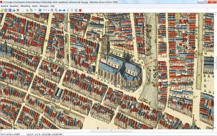 Rotterdam - kaart rond de Laurenskerk