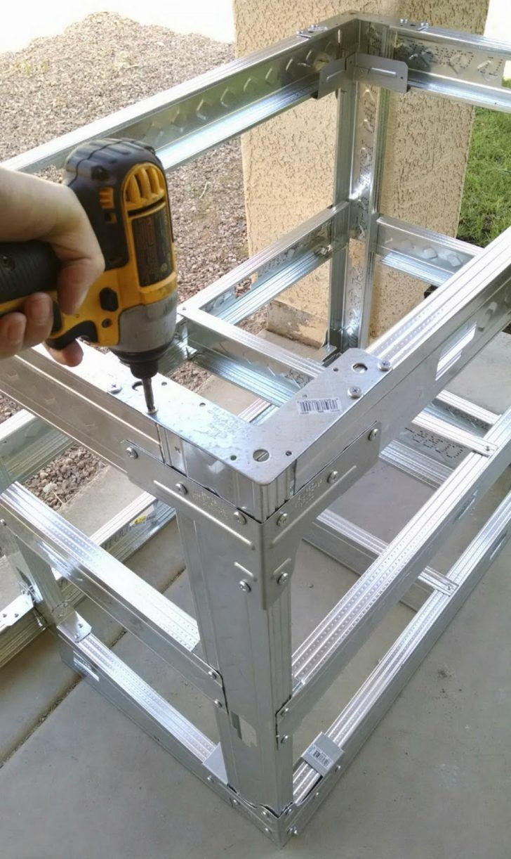 Diy Step Step How To Build An Outdoor Kitchen With Metal Studs Intended For Build An Outdoor K Build Outdoor Kitchen Outdoor Kitchen Plans Outdoor Grill Island