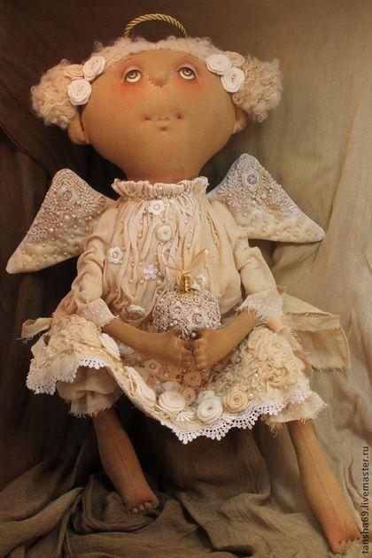 Ангел Рождественский - бежевый,примитив,примитивная кукла,примитивы,текстильная кукла