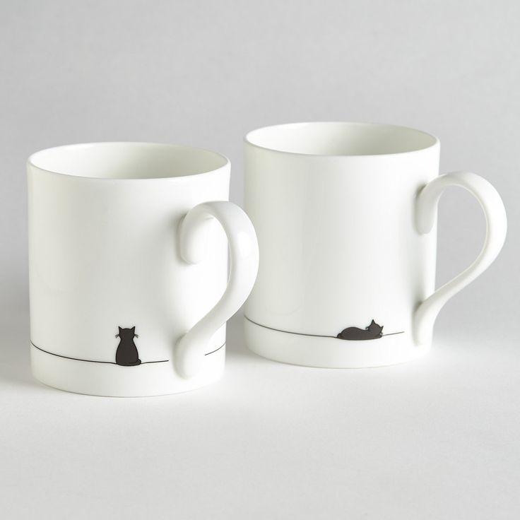 Sitting Cat and Sleeping Cat Mug - Set of Two by JinDesignsShop on Etsy