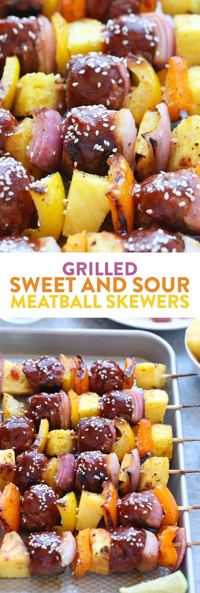 Make a healthy meal on a stick with these amazing Grilled Sweet and Sour Meatball Skewers. The meatballs are made with lean ground beef, grated yellow squash, and ginger with a fantastic healthier sweet and sour marinade.