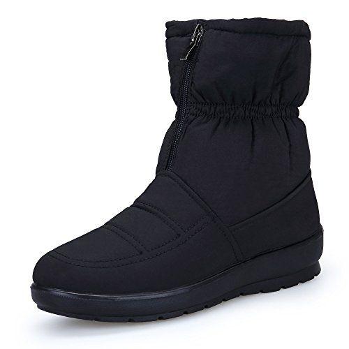 KOUDYEN Donna Scarp Stivali Da Neve Inverno Stivaletti pelliccia Boots Impermeabile Stivali,MX1308-Black-EU41