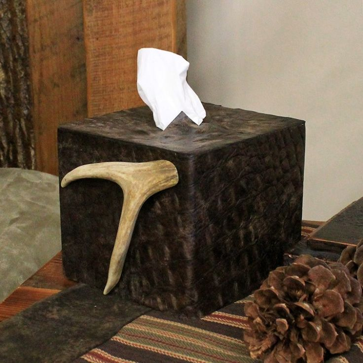 Jackson hole crocodile leather and antler tissue box cover for 2 furniture hole cover