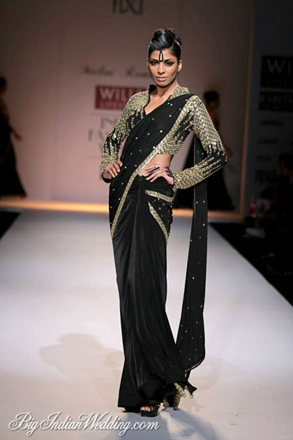 Black. Gold. #sari #saree #sari #blouse #indian #outfit  #shaadi #bridal #fashion #style #desi #designer #wedding #gorgeous #beautiful