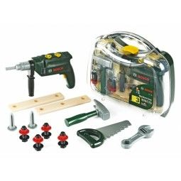 Your little handyman will love this work case complete with BOSCH Tool case with drill with a wide range of accessoriesIncluded with the case: - drill, battery-powered - saw - hammer - nails and much moreBattery: R6, 1,5V, AA-size Batteries not included