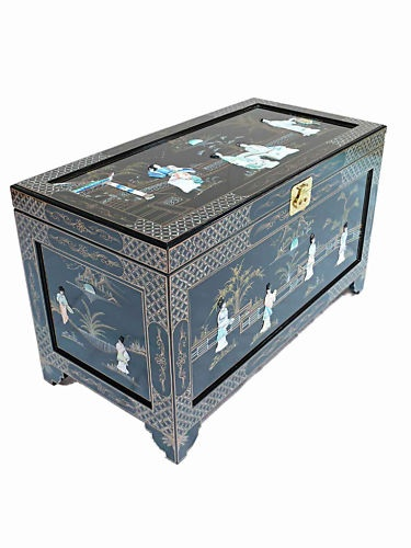 Oriental Furniture Black with Mother of Pearl Chest