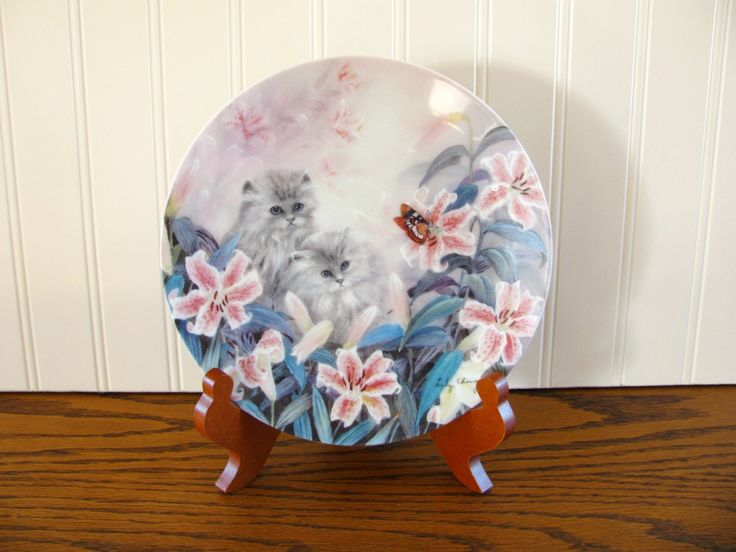 Vintage Cat Plate Lily Chang Petal Pals Flowering Fascination W L George Collector Plate Persian Cat Tiger Lily Cat Collector Cat Rescue by HipCatRetroVintage on Etsy