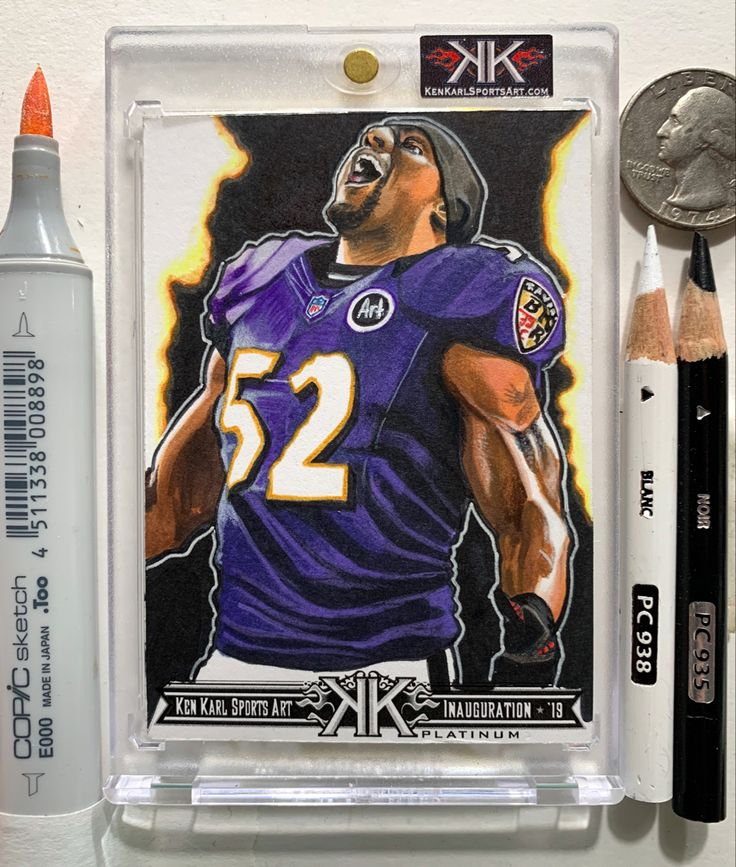 Ray Lewis Baltimore Ravens art card by Ken Karl in 2020