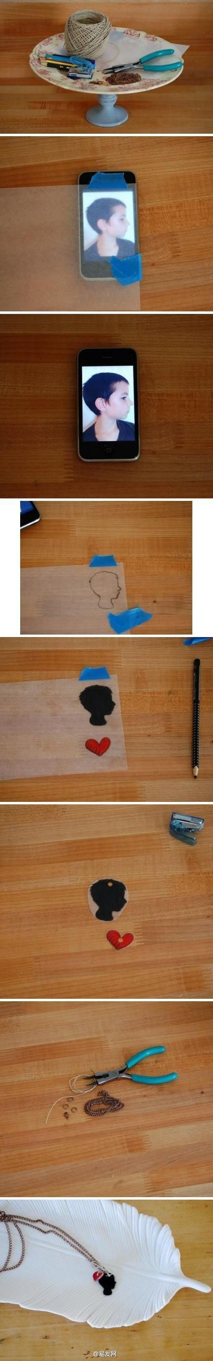 shrinky dink silhouette necklace DIY - so cute!!! Mother's Day gift idea