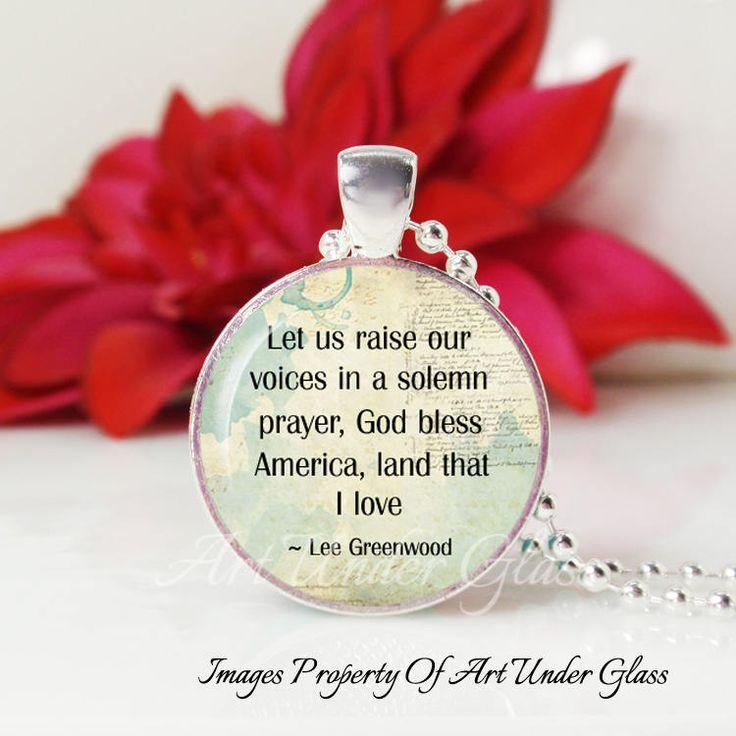 Round Medium Glass Bubble Pendant Necklace- God Bless America- Lee Greenwood Song Lyrics by ArtUnderGlass on Etsy