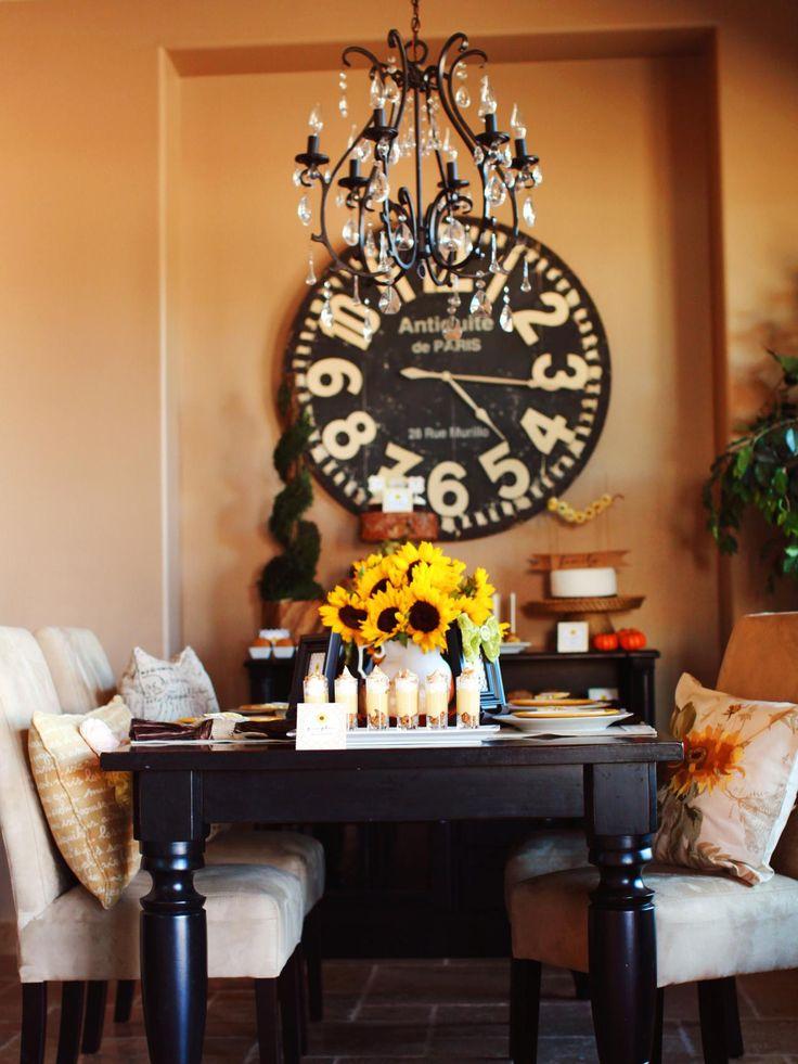 Sunflower Themed Thanksgiving Dessert Buffet Dining Room