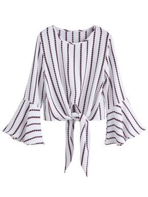 White Striped Knot Front Bell Sleeve Crop Blouse
