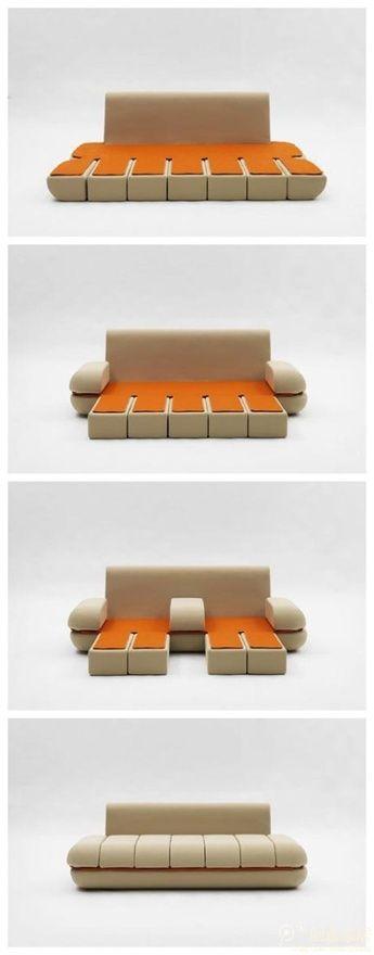 Sofa Dynamic Life, Matali Crasset Canapé modulable et astucieux, son assise composée de coussins #ARTICULE se replie pour libérer l'espace et se déploient pour transformer le sofa en lit ou en chaise longue.