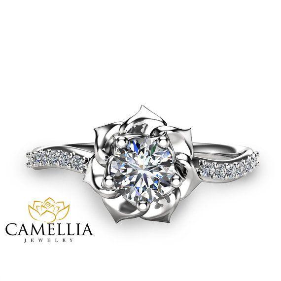 14K Weissgold Diamant Ring Blume Verlobungsring von CamelliaJewelry