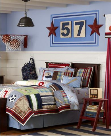 sports little boys room. another good idea for andrew's room... since we already have the matching bedding :)