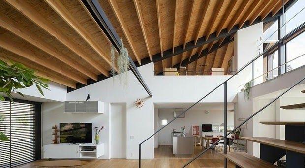 wood false ceiling panels: interesting wooden ceiling on slope